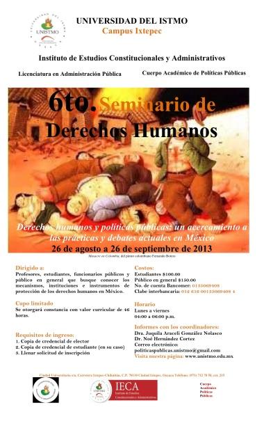 INVITACIÓN SEXTO SEMINARIO DE DERECHOS HUMANOS